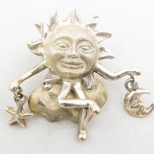 DANIEL ESPINOSA Celestial Sun Sol Brooch Pin